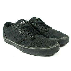 Vans Authentic Black Glitter Sparkle Skate Shoes